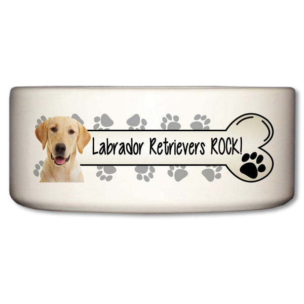 Labrador Retrievers Rock Ceramic Dog Bowl