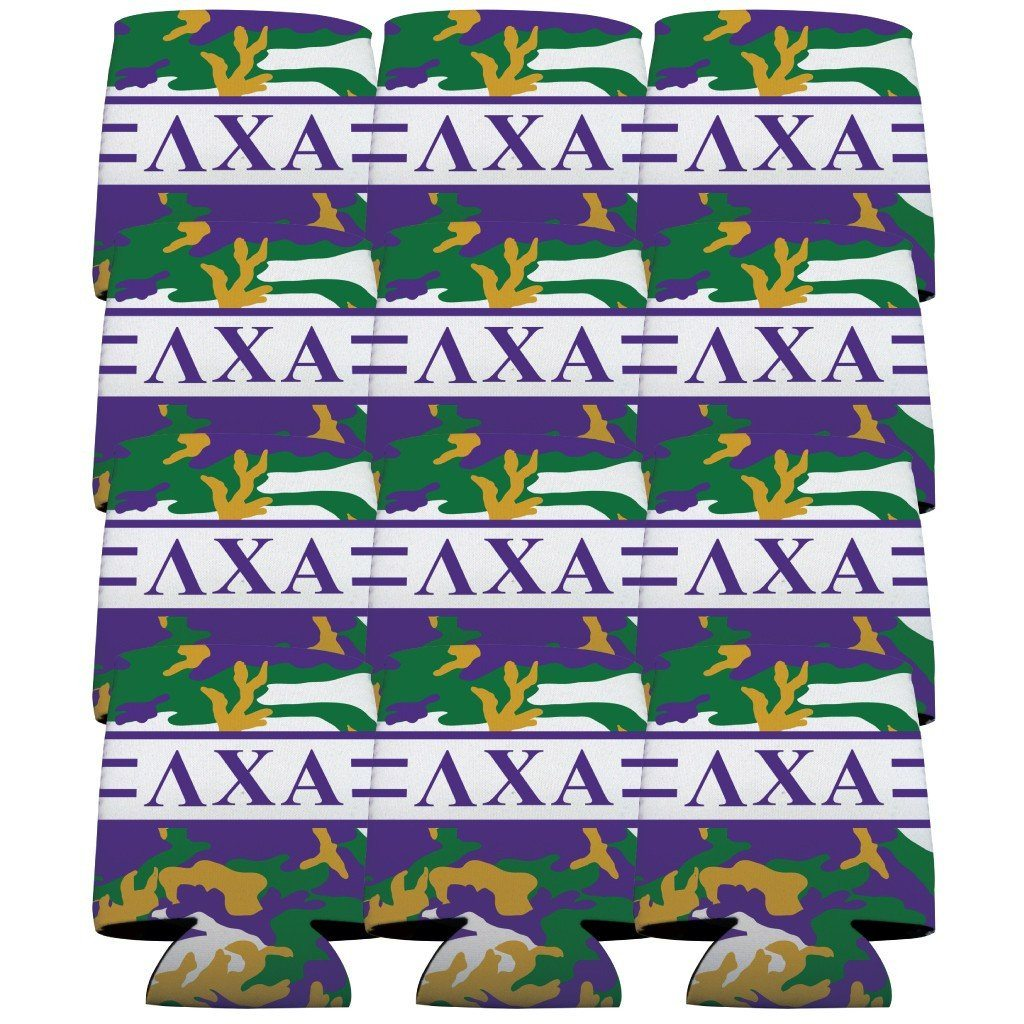 Lambda Chi Alpha Can Cooler Set of 12 - Army Camo Pattern