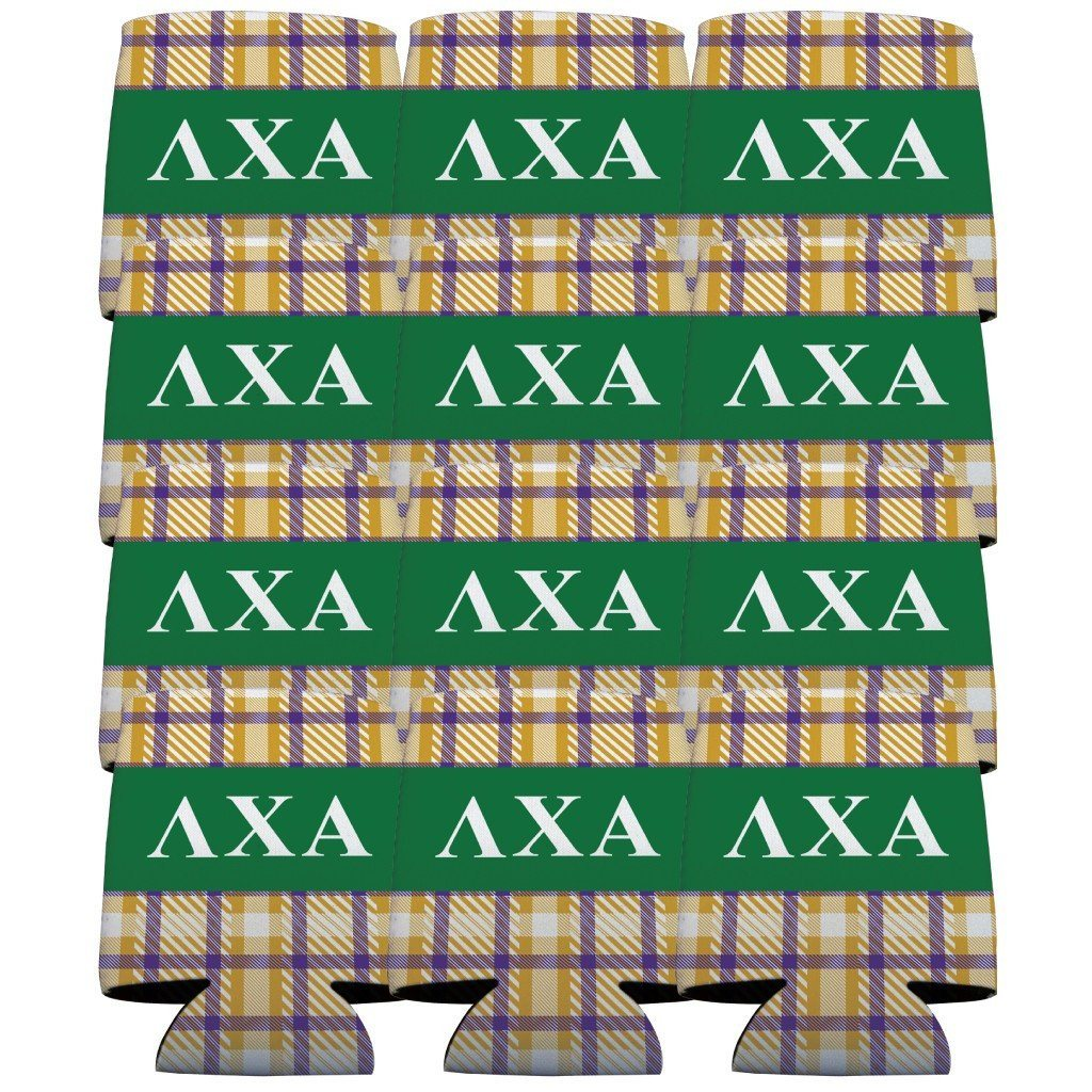 Lambda Chi Alpha Can Cooler Set of 12 - Plaid - FREE SHIPPING