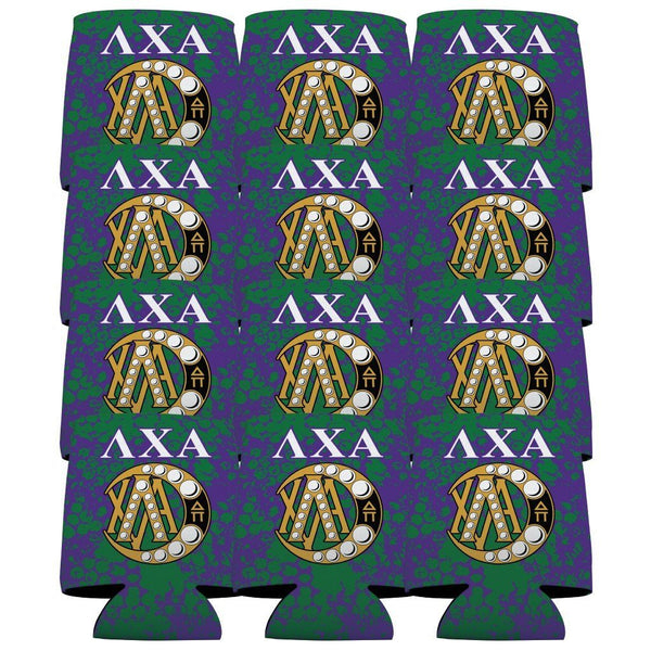 Lambda Chi Alpha Can Cooler Set of 12 - AXA Grunge Design