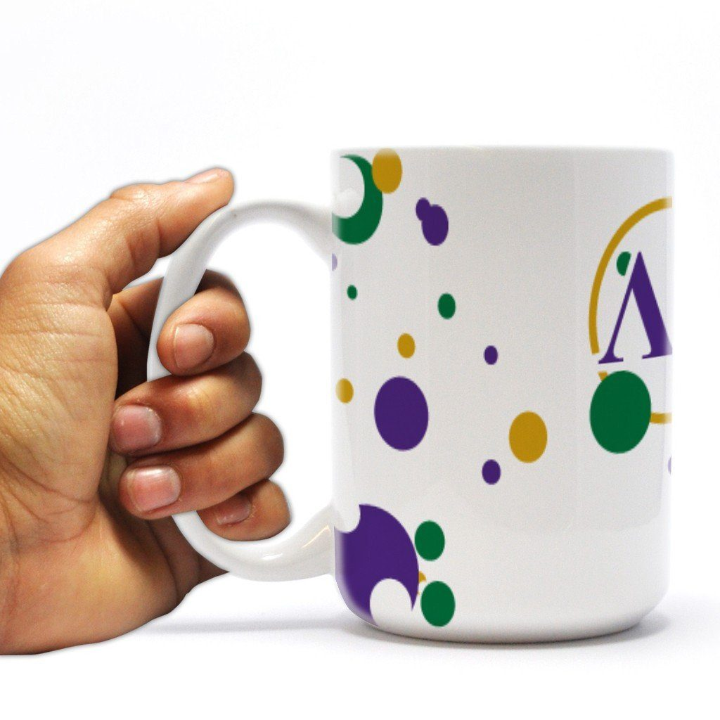 "Lambda Chi Alpha 15oz Coffee Mug "" Badge with Bubbles Design"