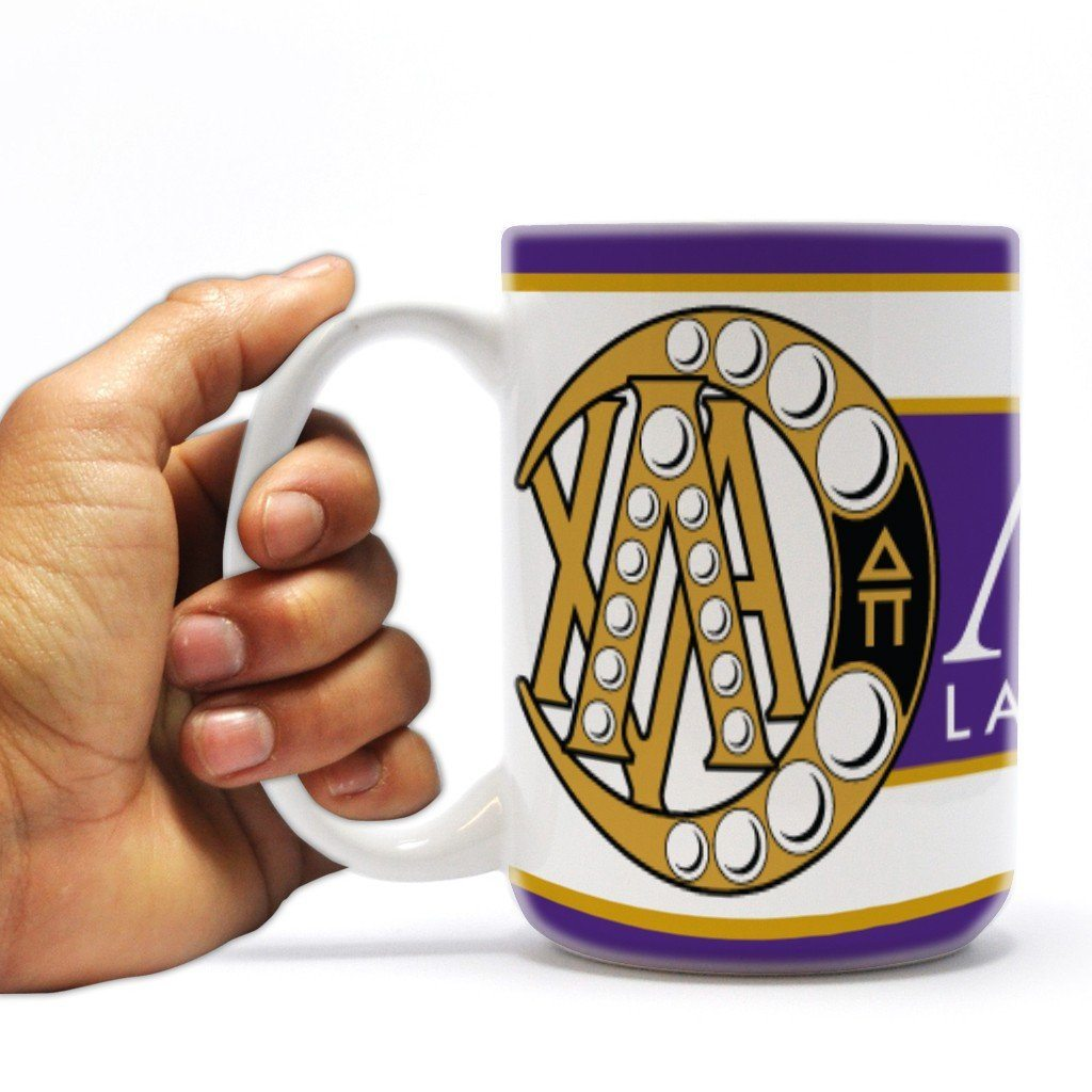 "Lambda Chi Alpha 15oz Coffee Mug "" Badge with Purple Stripes Design"