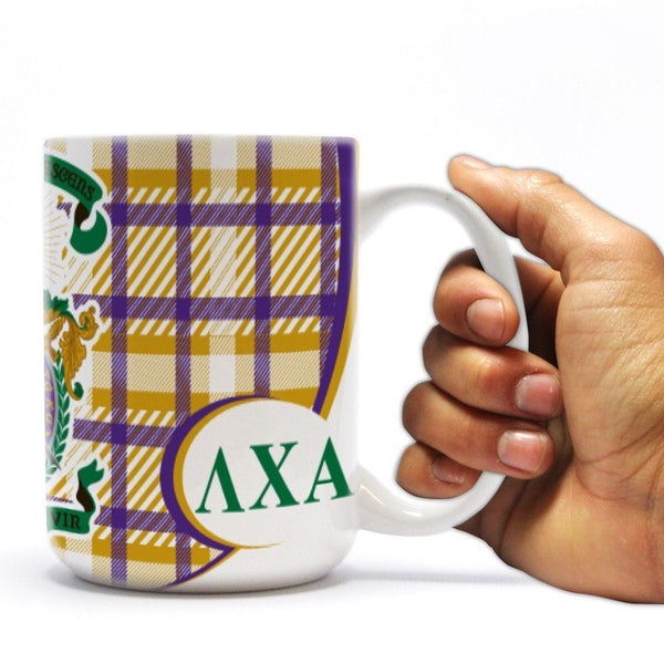 "Lambda Chi Alpha 15oz Coffee Mug "" Plaid with Coat of Arms Design"