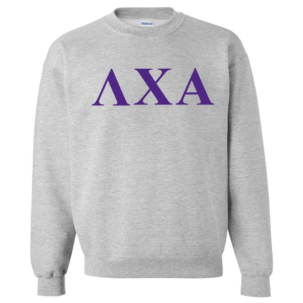 Lambda Chi Alpha Sport Gray Crewneck Sweatshirt Greek Letters Design