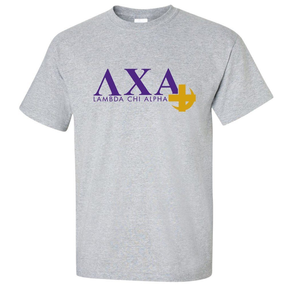 Lambda Chi Alpha Standard T-Shirt - Greek Letters with Cross - FREE SHIPPING
