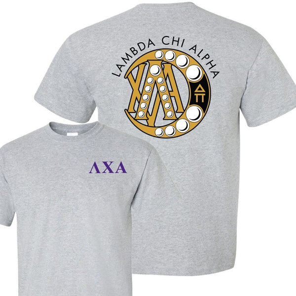 Lambda Chi Alpha Standard T-Shirt - Greek Letters with Badge on Back ""