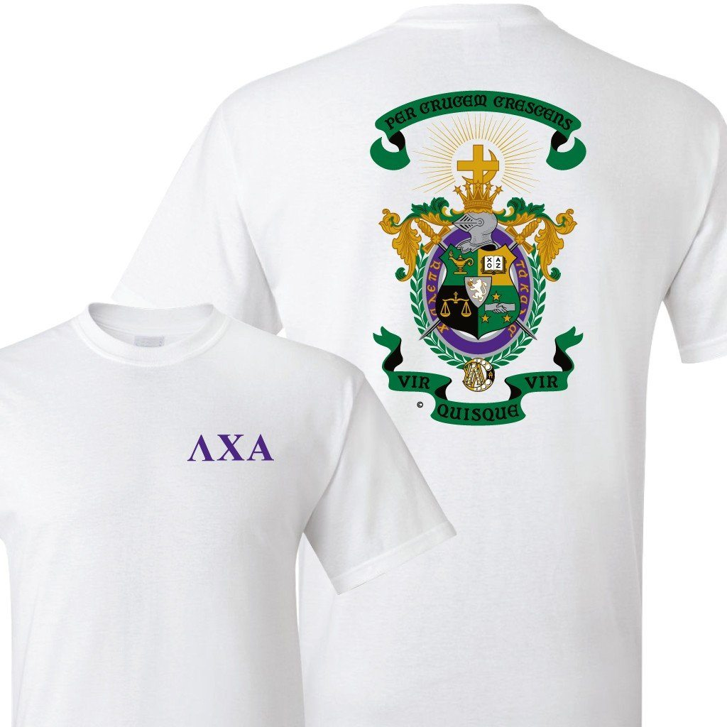 Lambda Chi Alpha Standard T-Shirt - Greek Letters with Coat of Arms - FREE SHIPPING