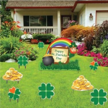 St. Patrick's Day - Yard Decoration - Leprechaun, Shamrocks and Gold - FREE SHIPPING