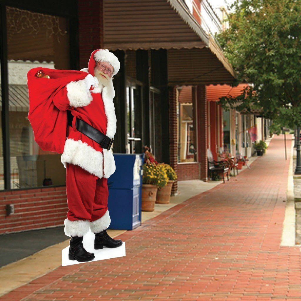 "Life Size Santa Cutout - Sidewalk and Lawn Display - 5' 7"" Tall - FREE SHIPPING"