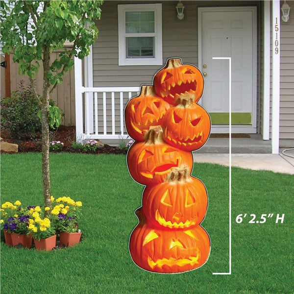Life Size 6' Tall Stacked Jack-O'-Lanterns Halloween Lawn Decoration