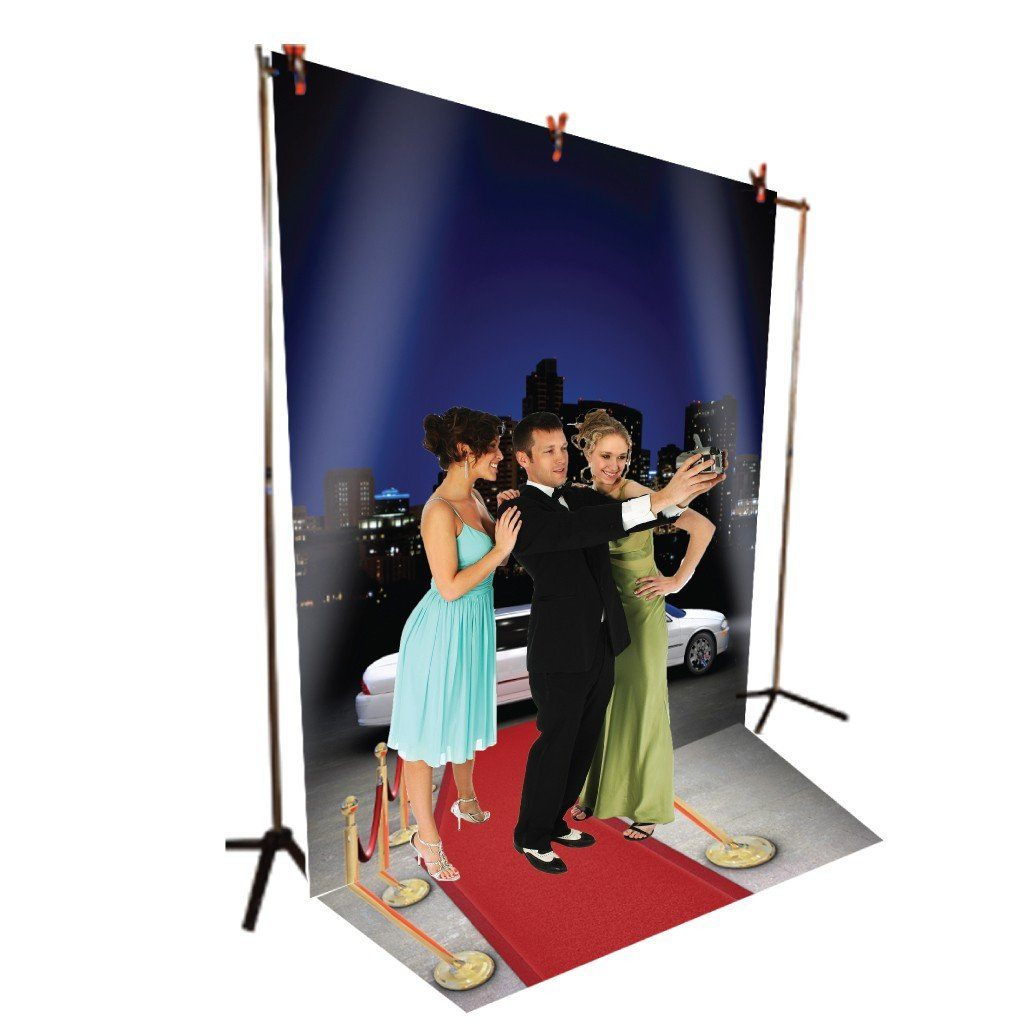 Red Carpet Limo Vinyl Photography Backdrop - 8'x10' or 8'x14'