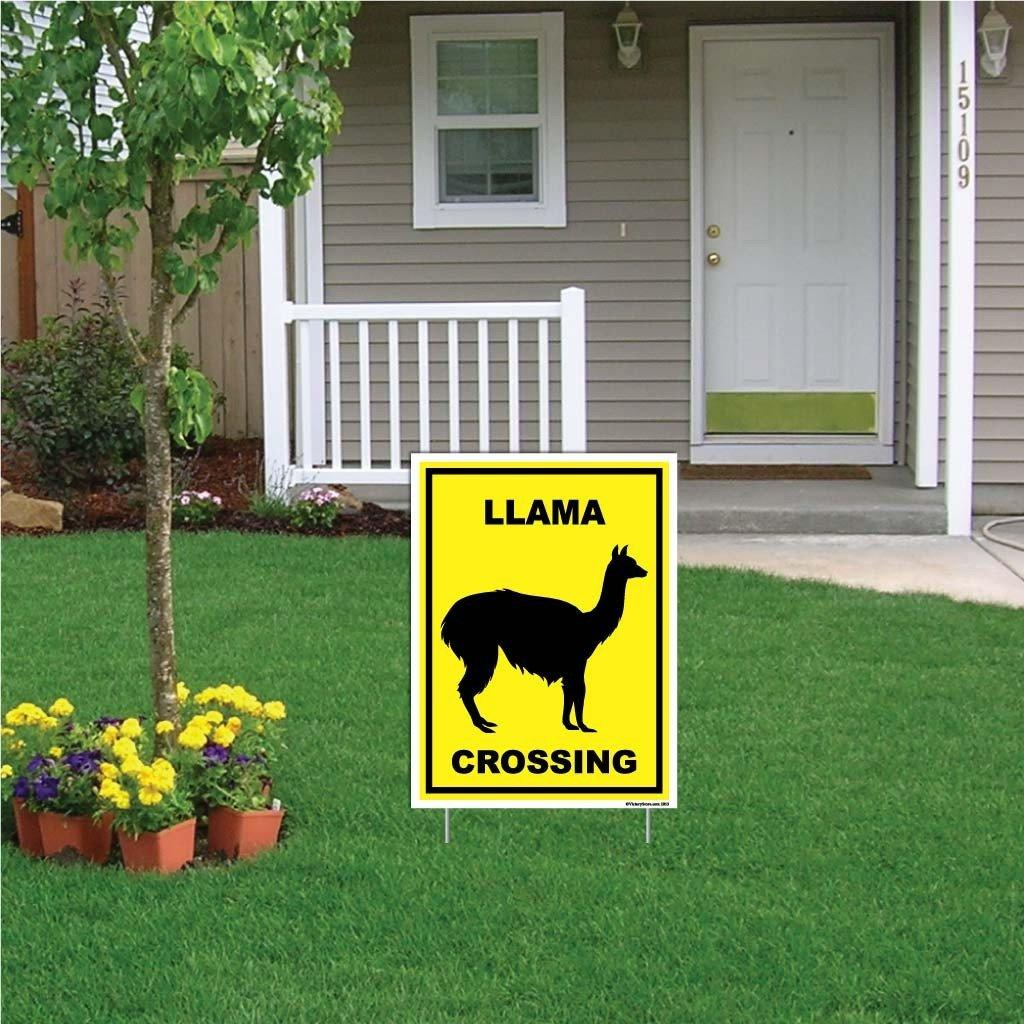 "A yard sign that says ""LLama Crossing"""