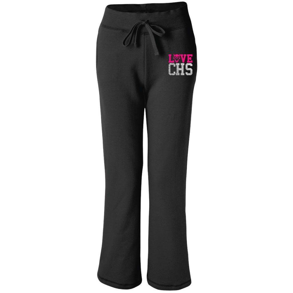 Love CHS Black Ladies Fit Open Bottom Sweatpants - Neon and Glitter Imprint
