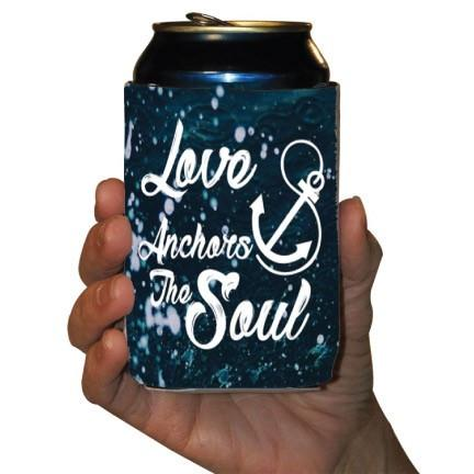 Custom Wedding Can Cooler- Love Anchors The Soul
