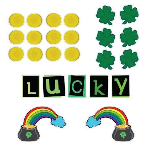 St. Patrick's Day Lawn Decorations - FLAT Hanging - Lucky Gold (Set of