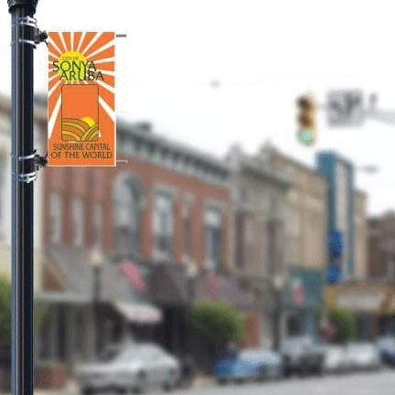 "Customizable Main Street 18""x36"" Pole Banner FREE SHIPPING"