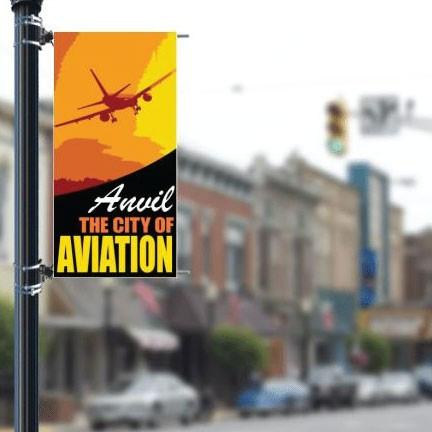 "Main Street 30""x60"" Pole Banner Aviation Theme FREE SHIPPING"