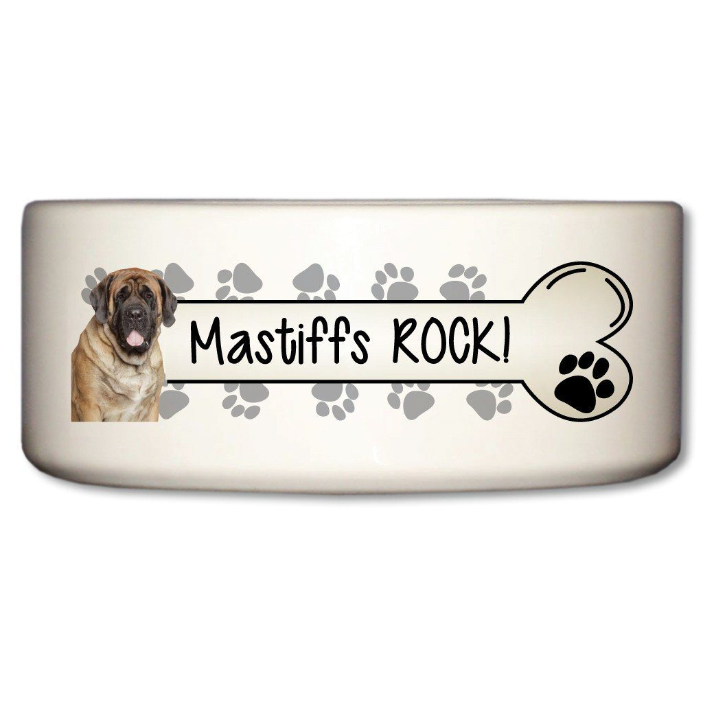 Mastiffs Rock Ceramic Dog Bowl