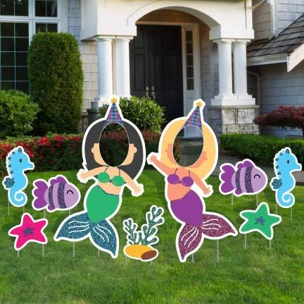 Face in Yard Signs - Glitter Mermaid Face Yard Sign Decorations FREE SHIPPING