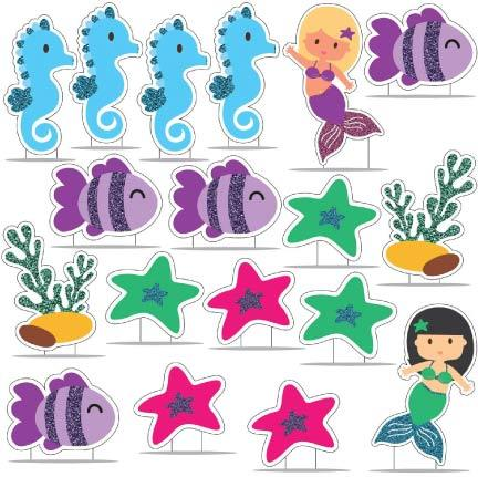 Glitter Mermaid Birthday Pathway & Lawn Decoration Set FREE SHIPPING