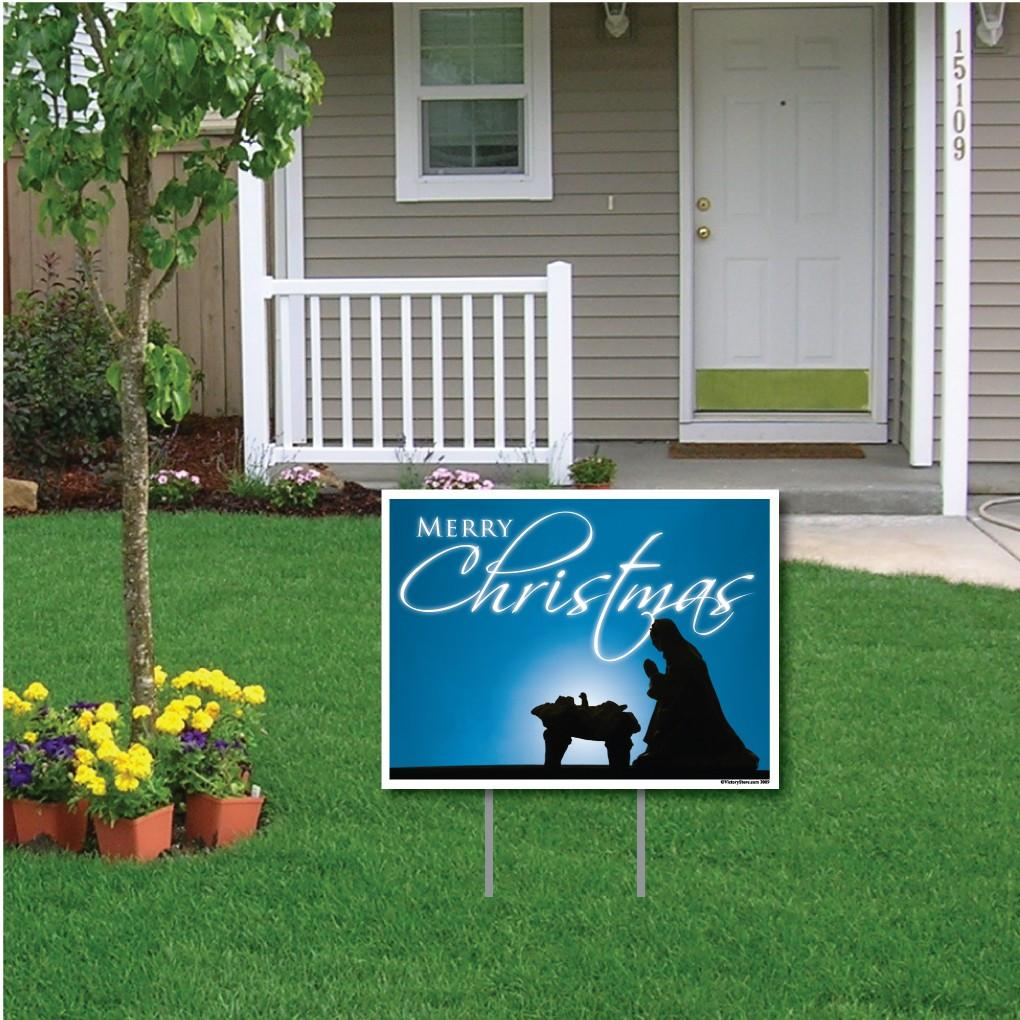 Merry Christmas Jesus in Manger Lawn Sign Display - FREE SHIPPING