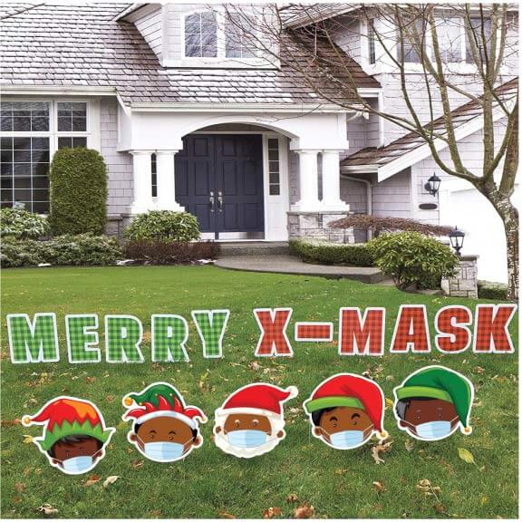 dark skinned christmas characters yard sign decoration