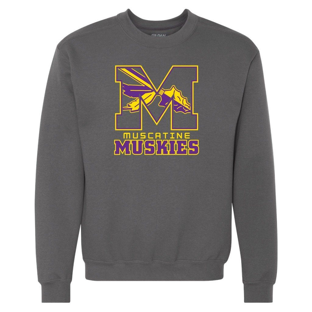 Muscatine High School Muskies Block M Crewneck Sweatshirt
