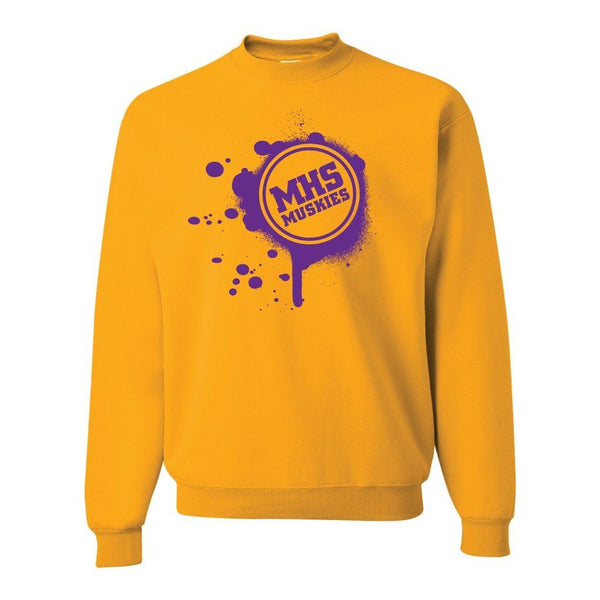 Muscatine High School Muskies Paint Splatter Crewneck Sweatshirt