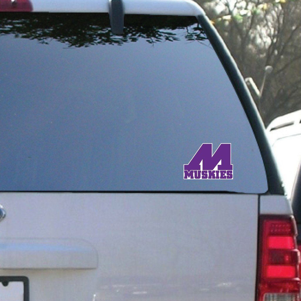 "Muscatine High School Muskies Block M Logo 5"" Shaped Vinyl Decal"