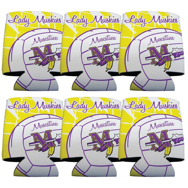 Muscatine High School Volleyball Koozie set of 6