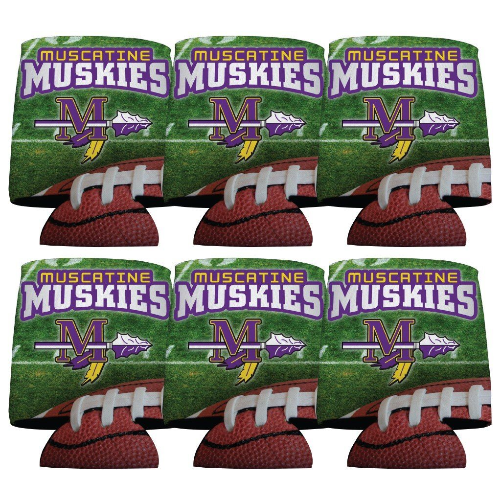 Muscatine High School Muskies Football Koozie set of 6