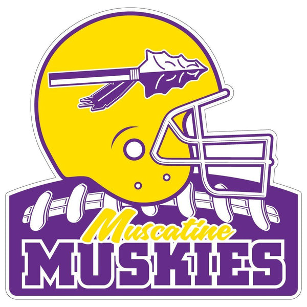 "Muscatine High School Muskies Football 7"" Shaped Magnet"