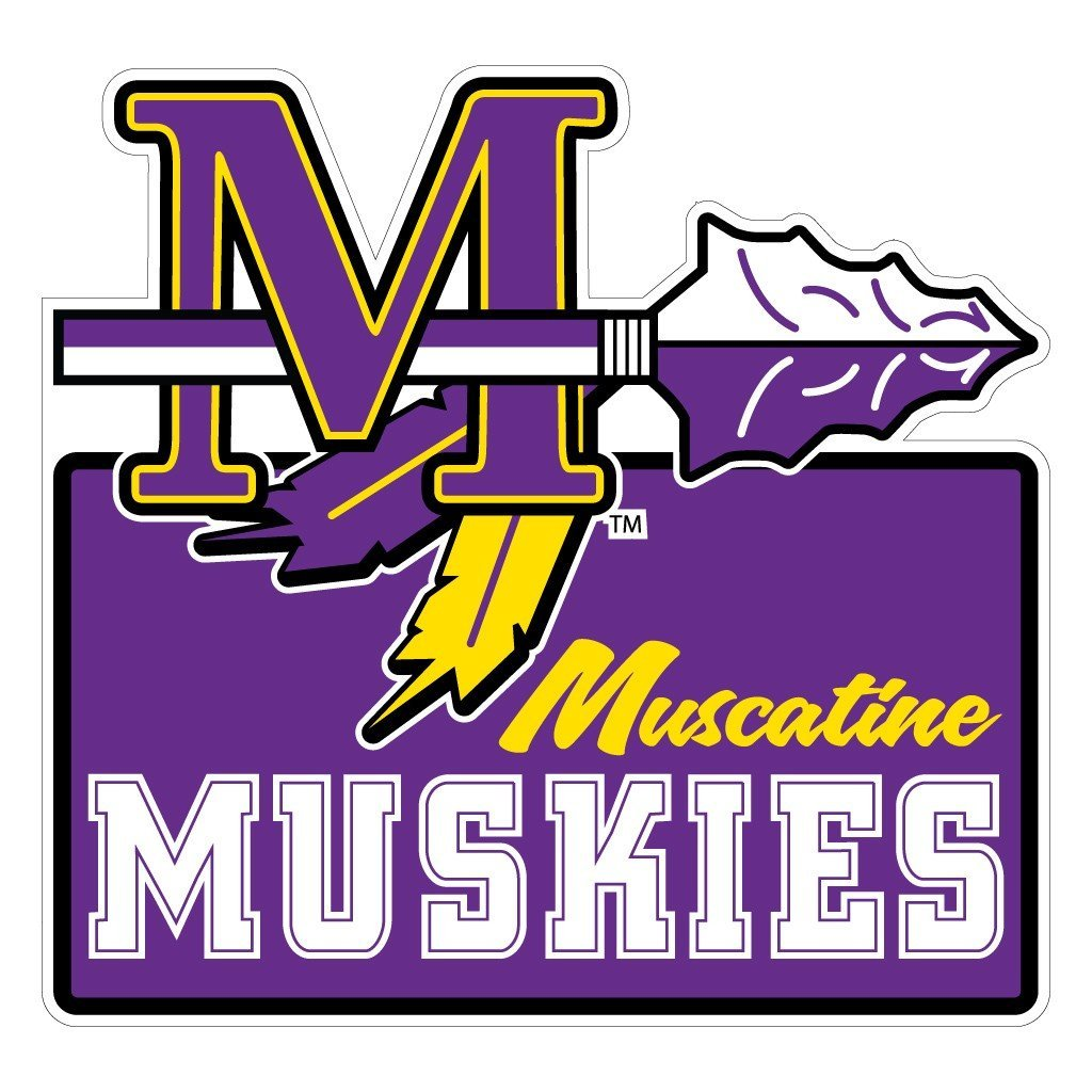 "Muscatine High School Muskies Tomahawk Logo 7"" Shaped Magnet"