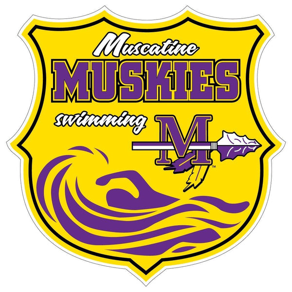 "Muscatine High School Muskies Swimming 7"" Shaped Magnet"