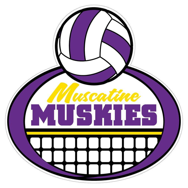 "Muscatine High School Muskies Volleyball 7"" Shaped Magnet"