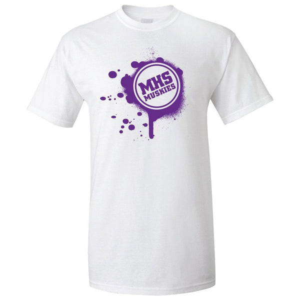 Muscatine High School Muskies Paint Splatter T-Shirt