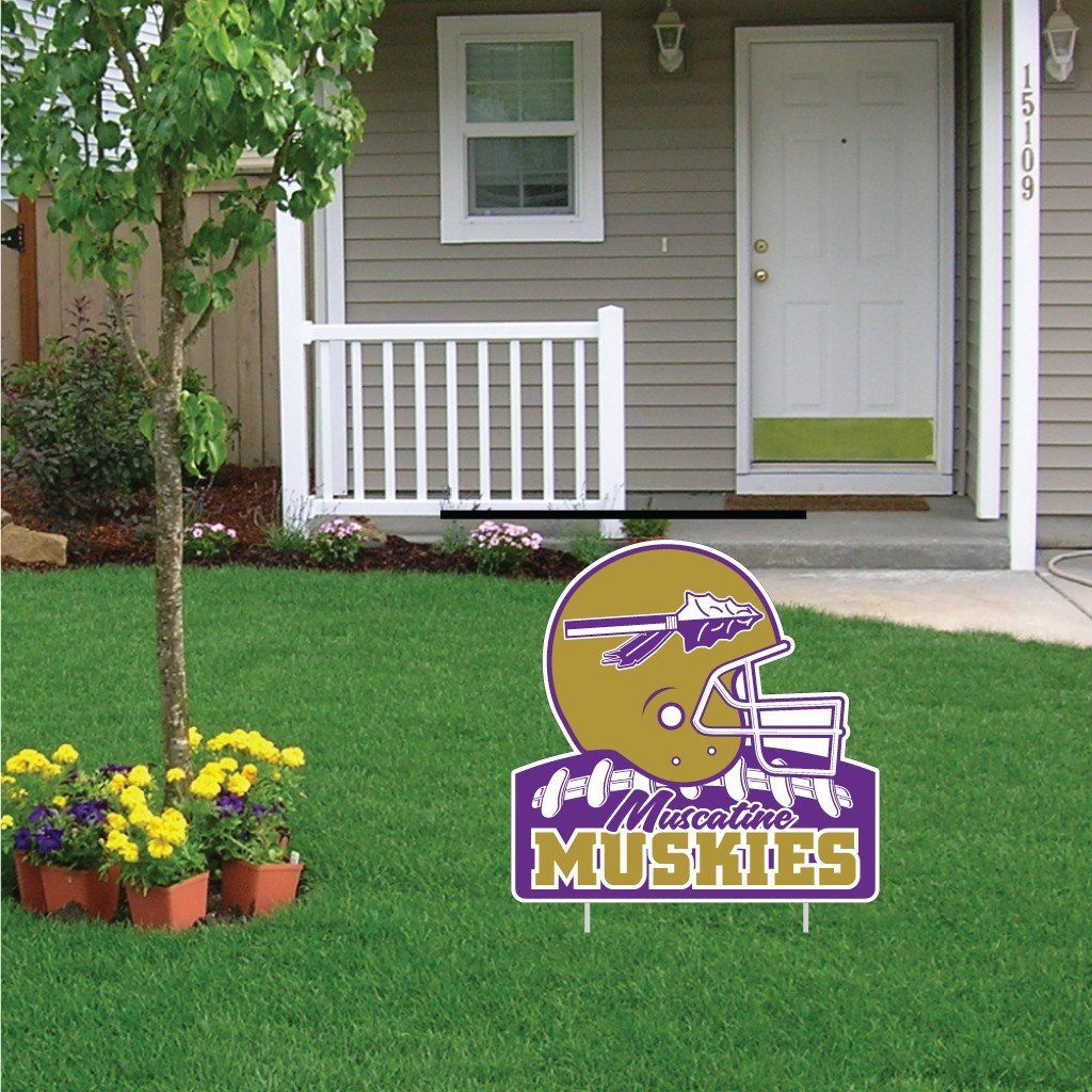 "Muscatine High School Muskies Football 22""x22"" Shaped Yard Sign with 2 Short Posting Stakes"