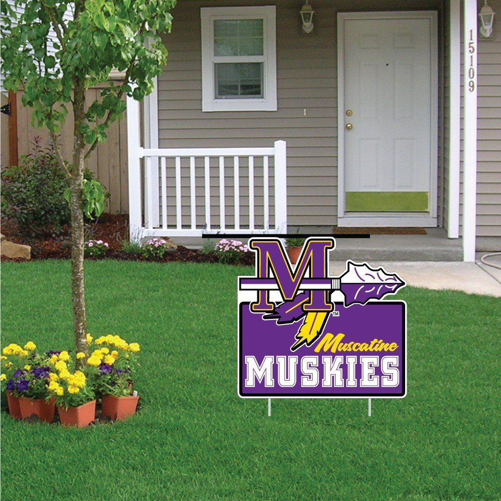 "Muscatine High School Muskies Tomahawk Logo 22""x22"" Shaped Yard Sign with 2 Short Posting Stakes"