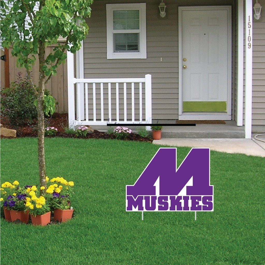 "Muscatine High School Muskies Block M Logo 16""x22"" Shaped Yard Sign with 2 Short Posting Stakes"