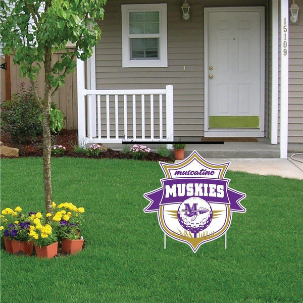 "Muscatine High School Muskies Golf 22""x22"" Shaped Yard Sign with 2 Short Posting Stakes"