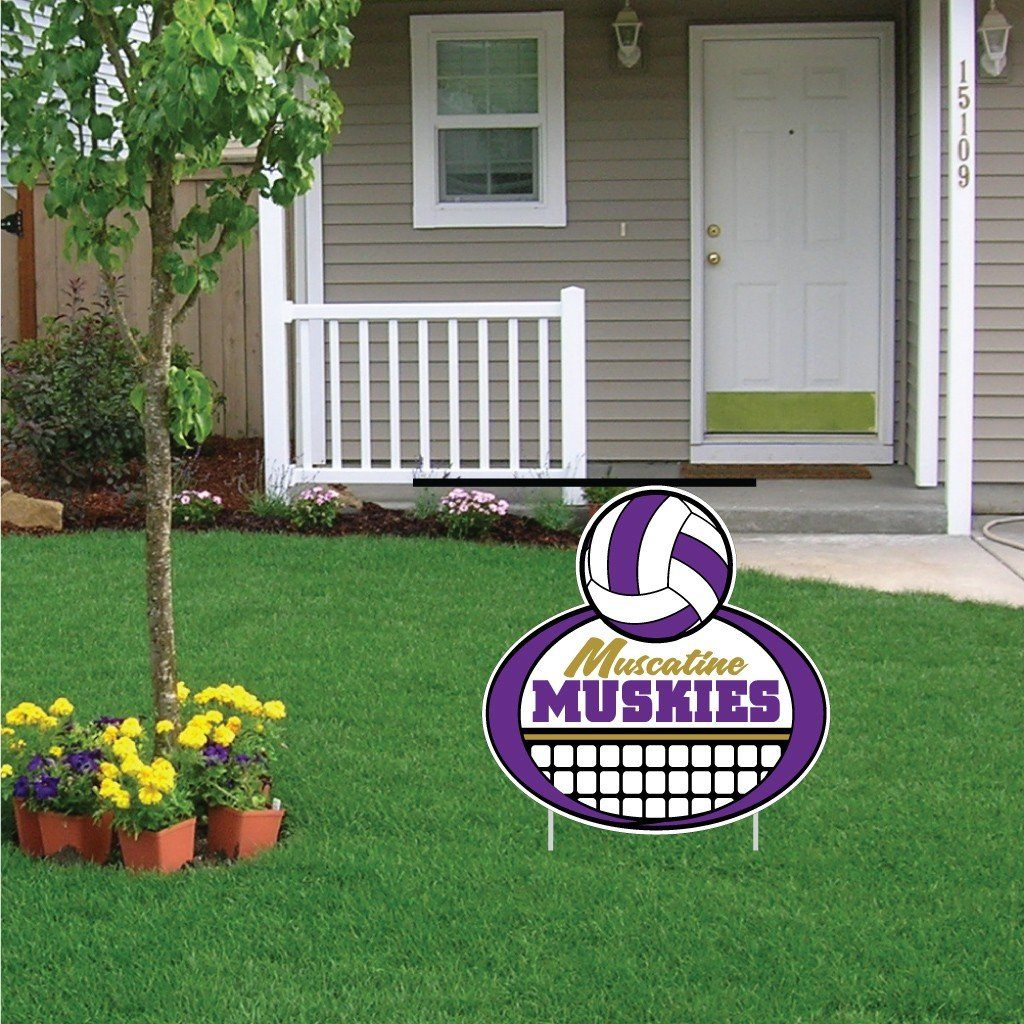 "Muscatine High School Muskies Volleyball 22""x22"" Shaped Yard Sign with 2 Short Posting Stakes"