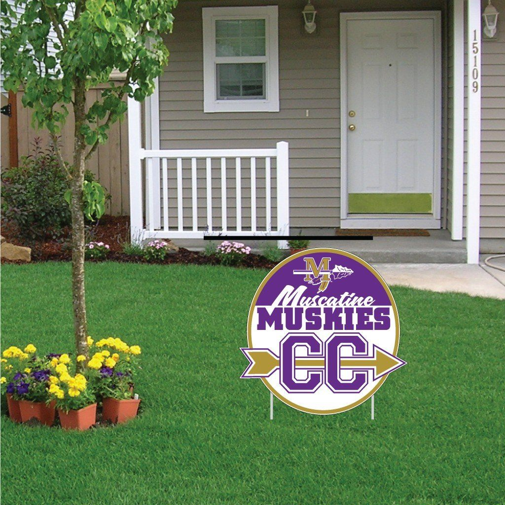 "Muscatine High School Muskies Cross Country 22""x22"" Shaped Yard Sign with 2 Short Posting Stakes"