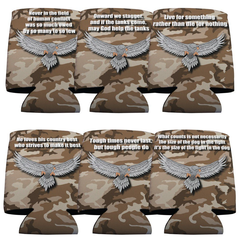 Military Can Cooler Set of 6 - 6 Designs - FREE SHIPPING
