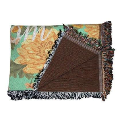 Mom Floral Woven Throw Blanket