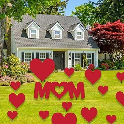 Mother's Day Yard Decoration - Mom & Hearts - Red Corrugated Plastic