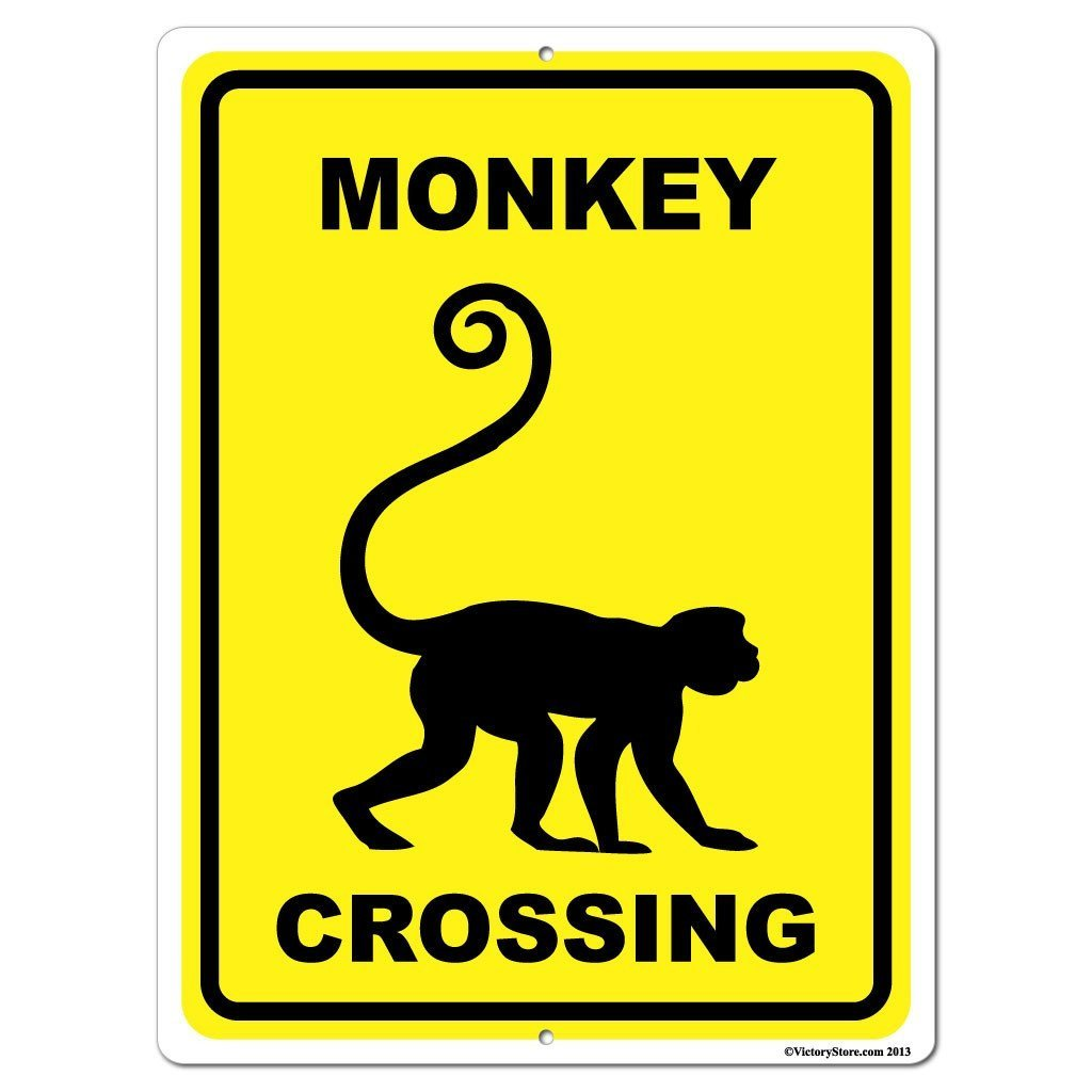 Monkey Crossing Sign or Sticker