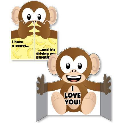 Monkey Hug Shaped Giant Card - Stock Design - Free Shipping
