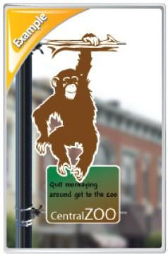 A monkey themed pole banner