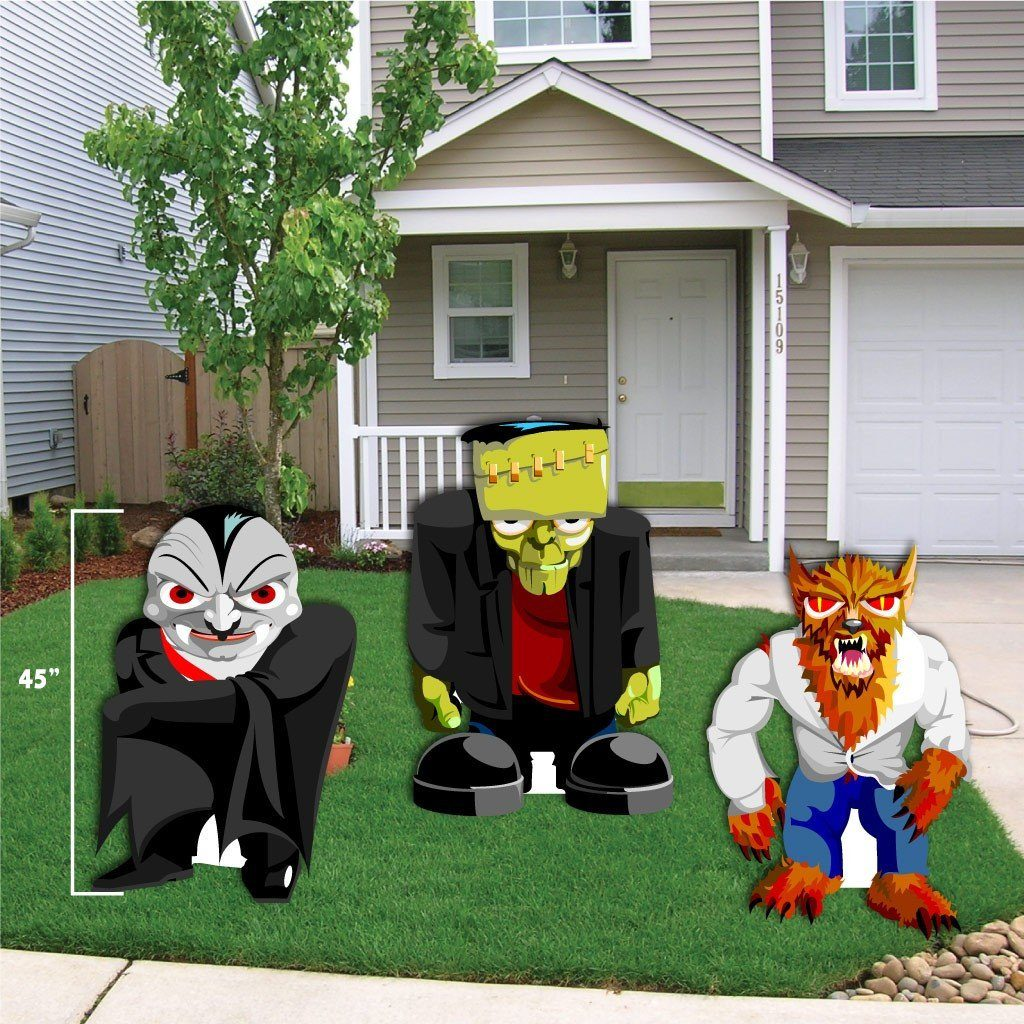 Halloween Yard.Halloween Yard Decoration Frankenstein Werewolf And Dracula Stand Up With Easels Free Shipping