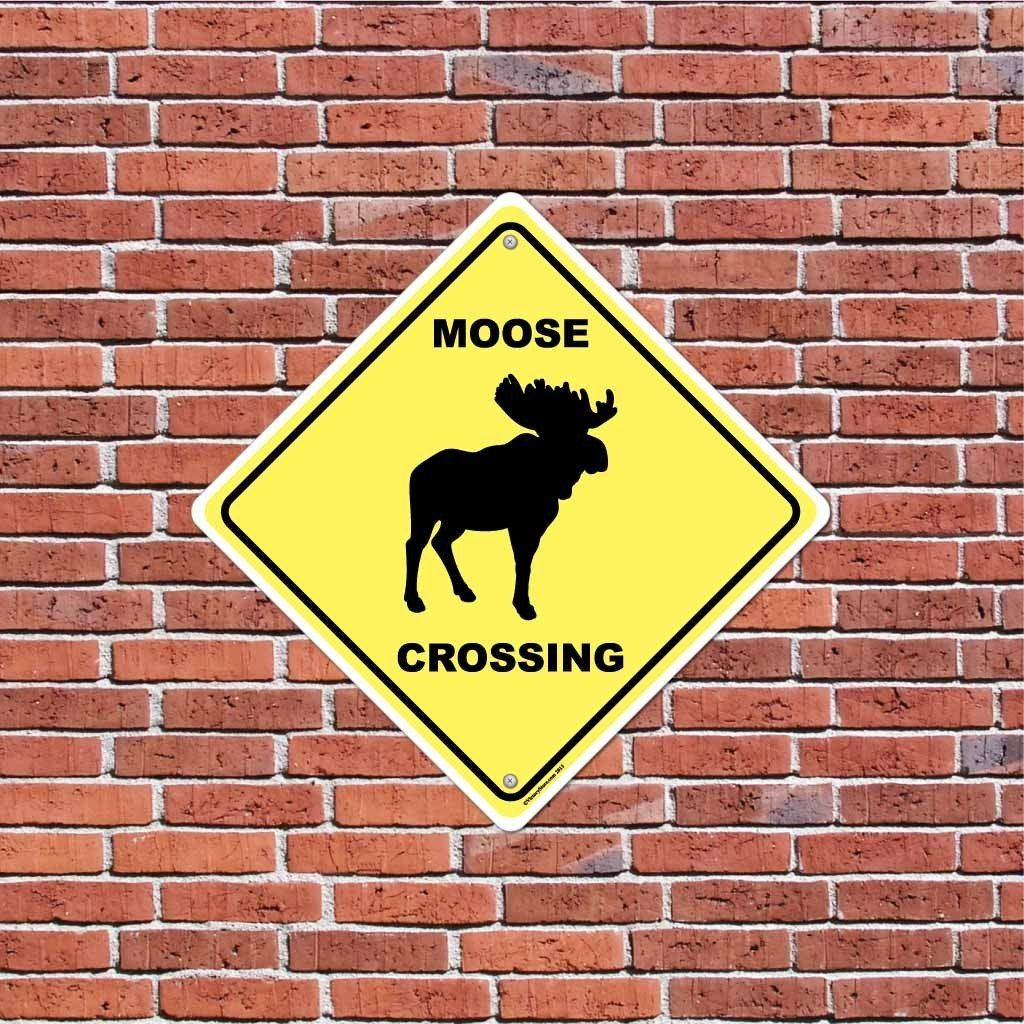 Moose Crossing Sign or Sticker